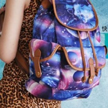Women Fashion Galaxy Print Charm Color Backpack Girl School Rucksack Canvas Versatile Bag