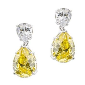 Cz By Kenneth Jay Lane Cubic Zirconia Double Pear Drop Earrings