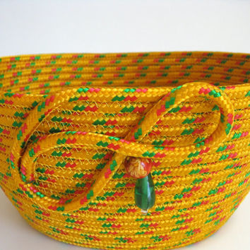 Rope Coiled Basket - Gold with touch of Green and Magenta