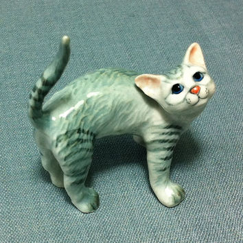 Miniature Ceramic Cat Kitty Funny Kitten Animal Cute Little Tiny Small White Grey Tail Figurine Statue Decoration Collectible Hand Painted