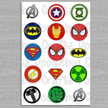 "Super Heroes Bottle Cap Images - Birthday Party Favor Tags - 1"" circles bottlecap - Marvel DC Comics - Batman, Superman, Iron Man, Spiderman"