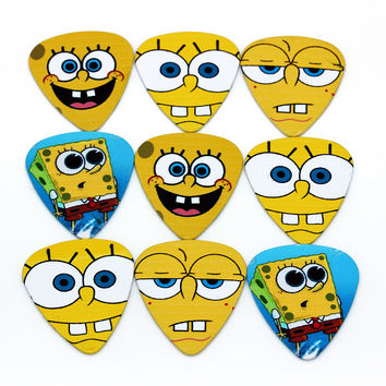 Sponge Bob Facial Expressions  Print both sides Funny 10 piece select guitar electric acoustic musical instrument bass string