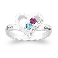 Sterling Silver Couple's Simulated Birthstone Heart Ring with Diamond and Crystal Accents (2 Stones & 2 Names) - Personalized Rings - Shared - Zales