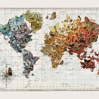 Butterfly Migration Vintage Wall Map Art by wendygold on Etsy