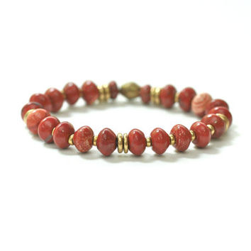 red jasper bracelet / jasper jewelry / red jasper stretch bracelet / earthy jewelry / red stacking bracelet / graduation gift / teacher gift