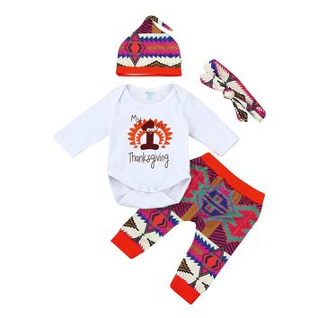 "6-24M ""My First Thanksgiving"" Long Sleeve/Pants/Hat/Headband 4PC Outfit"