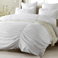 Ruched Design White Comforter and Duvet Cover Bedding Set