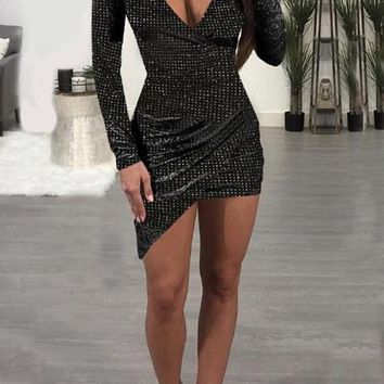 Black Mosaic Rhinestone Irregular Long Sleeve Sparkly Bodycon Party Club Wear Mini Dress