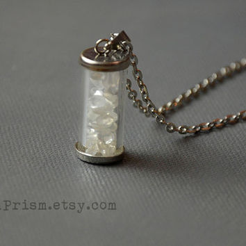 Clear Quartz Chips in Glass vial pendant necklace | Crystal chips | Glass vial necklace | Crystal Necklace | Wish bottle