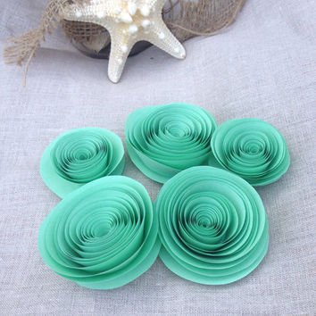 10 Hand made & sculpted mint green paper flowers for weddings home decor or showers
