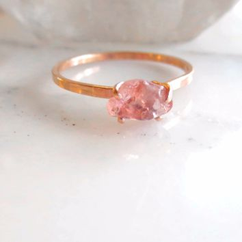 Peach Sapphire Engagement Ring | Conflict Free Raw Sapphire Ring
