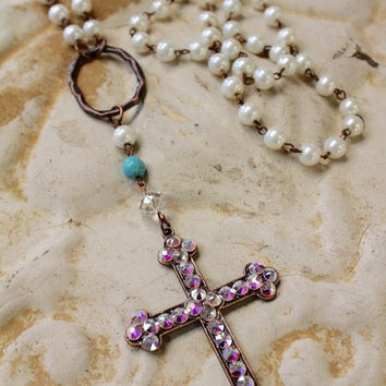 Goodness Gracious Cross & Pearl Necklace