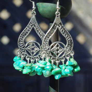Amazonite Stone Chandelier Earrings ~ Aqua Stone Earrings ~ Boho Chandelier Earrings ~ Semi Precious Stone Earrings ~ Bohemian Chandelier