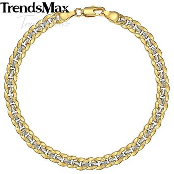 Trendsmax 6mm 20cm Men's Bracelet Gold Filled Cuban Link Chain Bracelet for Men Women Gift Jewely GB292