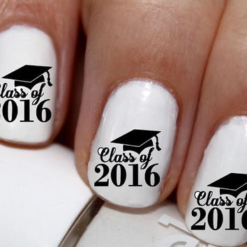20 pc Class Of 2016 Graduation Nail Art Nail Decals Nail Stickers Lowest Price On Etsy #cg1419na