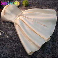 Short Evening Dress 2017 Women Elegant Satin Party Ball Gown Sexy Bride Banquet Dress Custom Formal Robe De Soiree