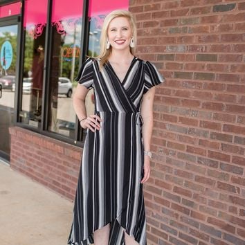 Breathe Deeply Black Striped Dress