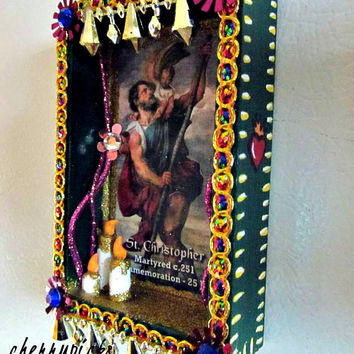 St Christopher Altar Day of the Dead Decoration Dia de los Muertos Nicho Catholic Saint Shrine
