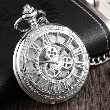 Luxury Silver Watch Men Gear Roman Number Hollow Mechanical Pocket Watch Unique Skeleton Steampunk Watches With Fob Chain Clock