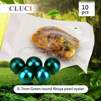 AAA grade 10pcs Akoya Green color skittle Pearls in Oysters with vacuum-packing, Bright Colorful Round Beads for Jewelry Making