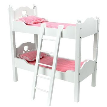 18 Inch Doll Furniture, Bunk Bed in White Cutout Design, Ladder & 2 Doll Bedding Sets, Fit For 18 Inch American Girl Dolls & More! Also Breaks Down into Two Separate White Beds