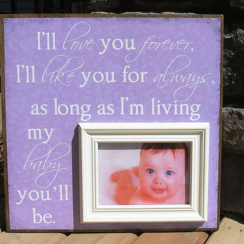 Personalized Picture Frame for Baby or Child, Love you for always, Birthday, Baptism, Christening, Grandparents, Godparents, Shower Gift