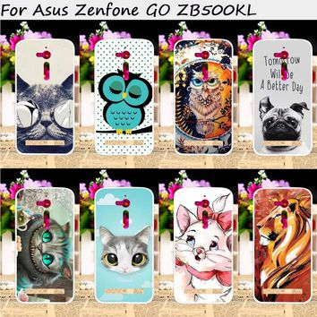 TAOYUNXI Mobile Phone Cases For ASUS ZenFone Go ZB500KL ZB500KG 5.0 inch Cover Plastic TPU Bags Animal Painting Skin Hood