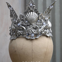 Mermaid Crown/Tiara - silver.  Costume - photoshoot - cosplay - fantasy - mermaid party - beach  - rave - pageant.