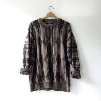 vintage Oscar De La Renta sweater.  slouchy sweater. abstract Cosby pullover.