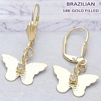Gold Layered Women Butterfly Dangle Earring, with  Cubic Zirconia, by Folks Jewelry