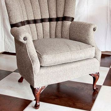 Sophisticated Soft Brown Tweed and Faux Leather Custom Upholstered Vintage  Chair with Mahogany Queen Anne LegsShop Queen Anne Chair on Wanelo. Antique Queen Anne Upholstered Chairs. Home Design Ideas