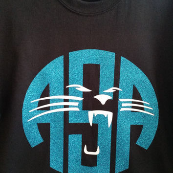 Carolina Panthers Inspired Personalized Glitter Monogram Shirt ***Now Available In Long Sleeve***