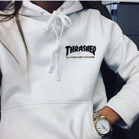 """""""Thrasher""""Quality hooded sweater flame slide hip sweater Letters on the side White"""