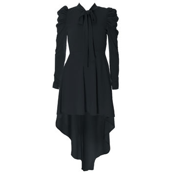 Blouse Dress With High Low Hem, Black