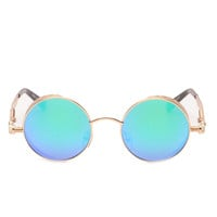 Reflective Sunglasses with Gold Rims