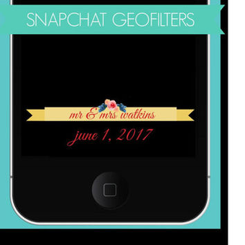Custom Wedding Geofilter, Snapchat GeoFilters, Wedding Snapchat Filters, Bridal Party Snapchat Filter, Personalized Snapchat Filter