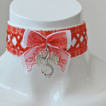 Kitten play collar - Age of dragon - geek gamer ddlg princess white and red choker necklace with lace - cute kawaii lolita pet