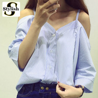 Off Shoulder Women Blouse Shirt Summer New Fashion Korean Style 2016 Sweet Slash Neck Tops Stripe Sexy Shirts Ladies Clothing