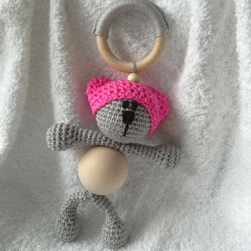 pink pussycat hat wooden teether, baby gift toy, senses training, baby shower, teething toy, nursery gift, baby teether, baby teething toy
