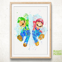 Super Mario Bros - Watercolor, Art Print, Home Wall decor, Watercolor Print, Super Mario Poster