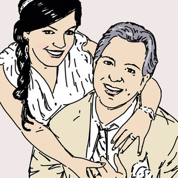 Wedding portrait Original illustration Custom Family Portrait Drawing portraits from photographs Hand drawn Commission Made to order Pink