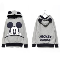 Grey Mickey Mouse Pullover Hoodie with Cute Ears