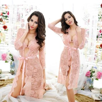One Set Lady Romantic Full Lace Mesh Nightdress Hollow Out Half Transparent Floral Nighties Sexy Midnight Slips Intimates Retail