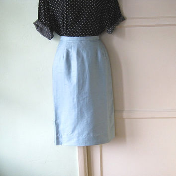 Frosty Blue Straight Skirt; Midcentury Vintage - Baby Blue Silk Doupioni Career Skirt; XS-Small - Vintage Blue Career Skirt/Fashionista