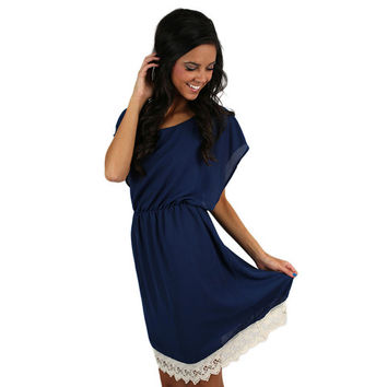 Southern Sunsets Dress in Navy | Impressions Online Women's Clothing Boutique