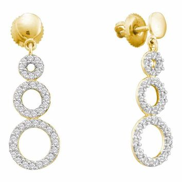 14kt Yellow Gold Women's Round Diamond Triple Circle Screwback Dangle Earrings 3-8 Cttw - FREE Shipping (US/CAN)