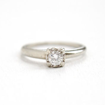Vintage 14K White Gold 1/4 Carat Solitaire Diamond Ring - Size 6 1/2 1950s Mid Century Hallmarked Starfire Fine Engagement Jewelry