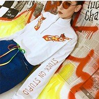 Women Casual Fashion Personality Flower Flame Letter Print Long Sleeve Turtleneck Zip Sweater Short Tops