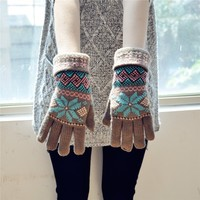 FunShop Snowflake and Rhombus Pattern Knitted Gloves for Women Coffee