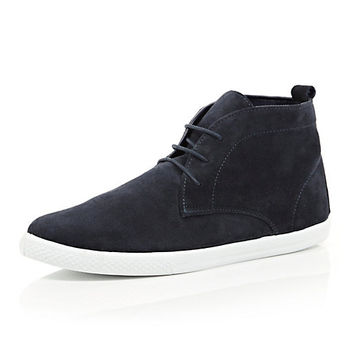 River Island MensNavy suede lace up mid top boots